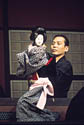 Bunraku puppet and puppeteer